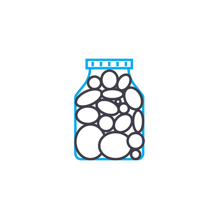 Canned vegetables line icon, vector illustration. Canned vegetables linear concept sign.