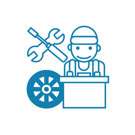 Car mechanic line icon, vector illustration. Car mechanic linear concept sign. Illustration