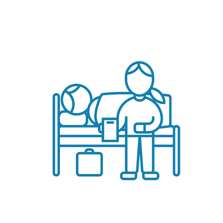 Care of the patient line icon, vector illustration. Care of the patient linear concept sign.