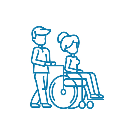 Care for disabled people line icon, vector illustration. Care for disabled people linear concept sign.