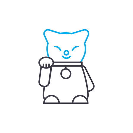Cat statuette line icon, vector illustration. Cat statuette linear concept sign. Иллюстрация