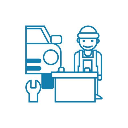 Car repair line icon, vector illustration. Car repair linear concept sign. 向量圖像