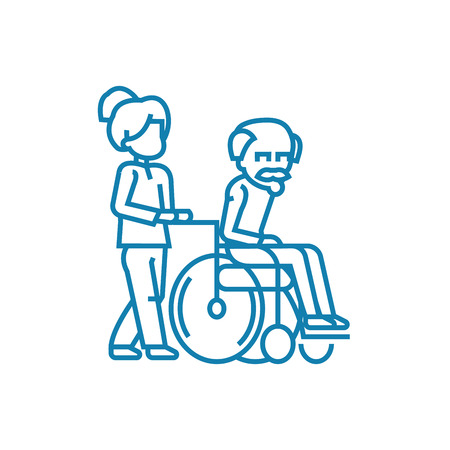 Care for the elderly line icon, vector illustration. Care for the elderly linear concept sign.