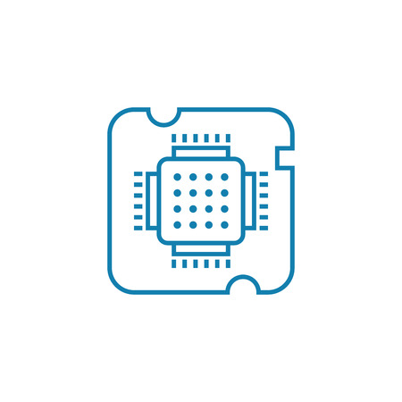 Central processing unit line icon, vector illustration. Central processing unit linear concept sign.