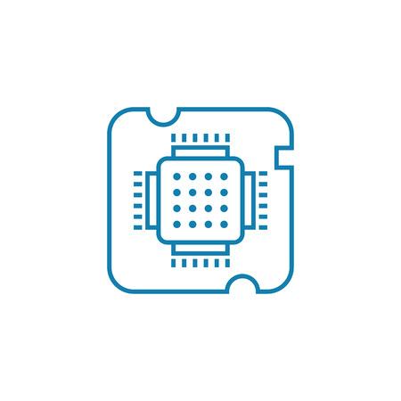 Central processing unit line icon, vector illustration. Central processing unit linear concept sign.