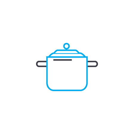 Casserole for soup line icon, vector illustration. Casserole for soup linear concept sign.