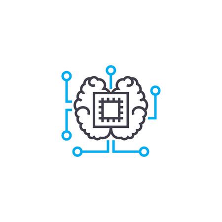 Central processor line icon, vector illustration. Central processor linear concept sign. Illustration