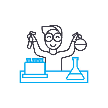 Chemistry laboratory work line icon, vector illustration. Chemistry laboratory work linear concept sign.