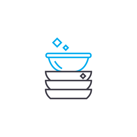 Clean dishes line icon, vector illustration. Clean dishes linear concept sign. 向量圖像