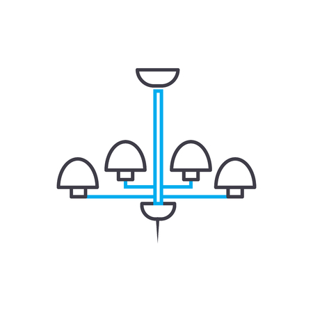 Chandelier line icon, vector illustration. Chandelier linear concept sign.