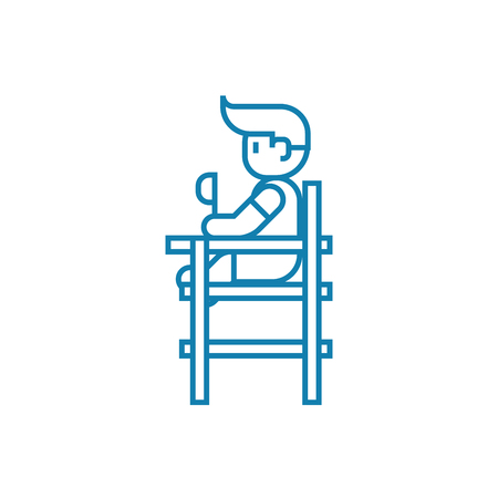 Childrens dining chair line icon, vector illustration. Childrens dining chair linear concept sign.