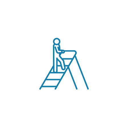 Climbing the corporate ladder line icon, vector illustration. Climbing the corporate ladder linear concept sign.