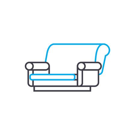 Cloth sofa line icon, vector illustration. Cloth sofa linear concept sign. 일러스트