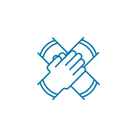 Collaborative work line icon, vector illustration. Collaborative work linear concept sign.