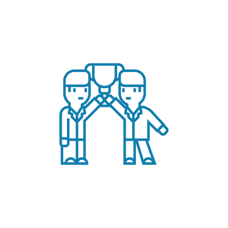Common achievements line icon, vector illustration. Common achievements linear concept sign. Vettoriali