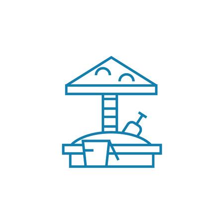 Childrens sandbox line icon, vector illustration. Childrens sandbox linear concept sign. Standard-Bild - 101913704