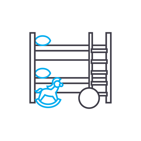 Childrens room line icon, vector illustration. Childrens room linear concept sign. Standard-Bild - 101955117