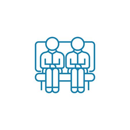 Company visitors line icon, vector illustration. Company visitors linear concept sign.