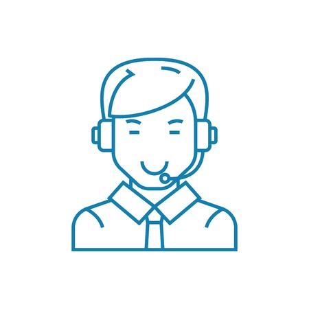Communication via skype line icon, vector illustration. Communication via skype linear concept sign. Illustration