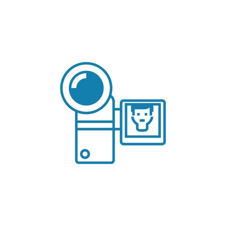 Compact video camera line icon, vector illustration. Compact video camera linear concept sign.