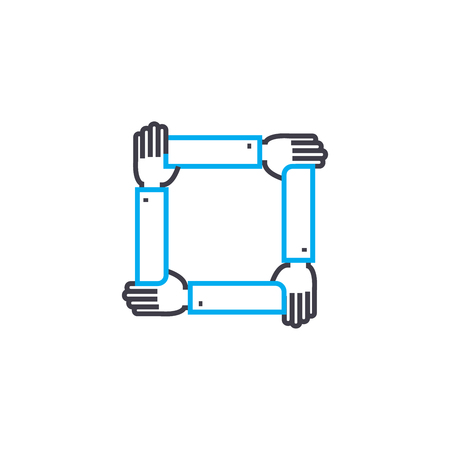 Comprehensive support line icon, vector illustration. Comprehensive support linear concept sign. 向量圖像