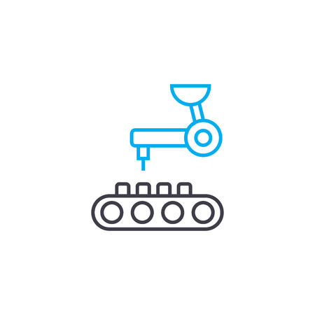 Computer-aided manufacturing line icon, vector illustration. Computer-aided manufacturing linear concept sign. 일러스트