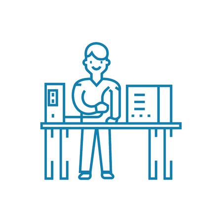 Computer repair line icon, vector illustration. Computer repair linear concept sign. Illustration