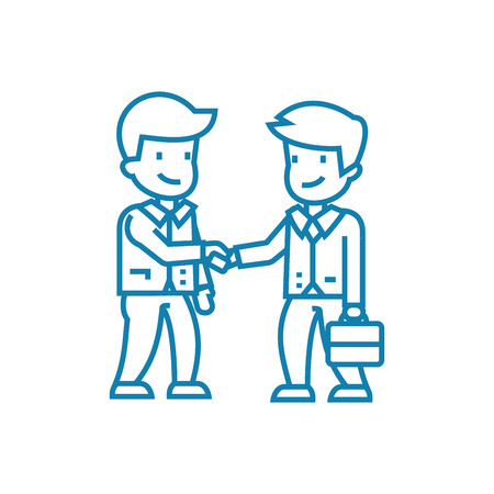 Conclusion of an agreement line icon, vector illustration. Conclusion of an agreement linear concept sign. Illustration