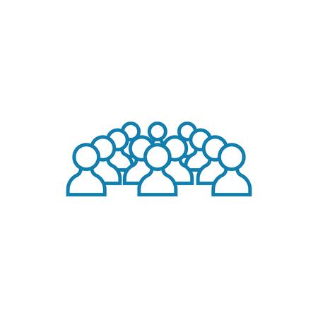 Conference participants line icon, vector illustration. Conference participants linear concept sign. Stock Illustratie