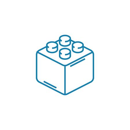 Icono de línea de bloque de constructor, ilustración vectorial. Signo de concepto lineal de bloque de constructor.