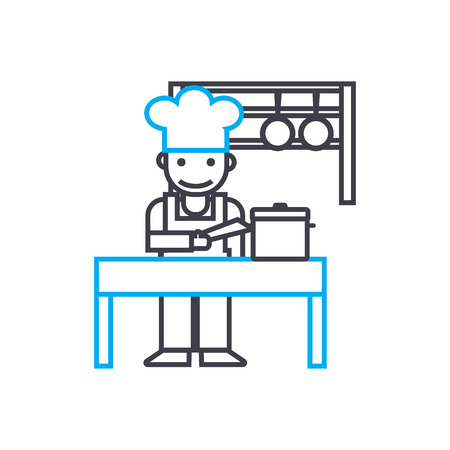 Cooking line icon, vector illustration. Cooking linear concept sign.