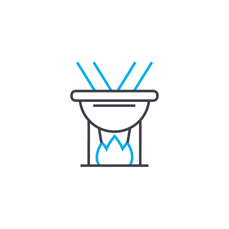 Cooking on fire line icon, vector illustration. Cooking on fire linear concept sign.