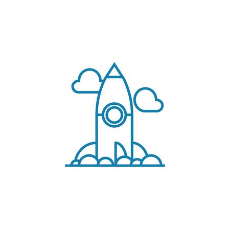 Cosmodrome line icon, vector illustration. Cosmodrome linear concept sign.