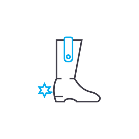 Cowboy boots line icon, vector illustration. Cowboy boots linear concept sign. Archivio Fotografico - 101919269