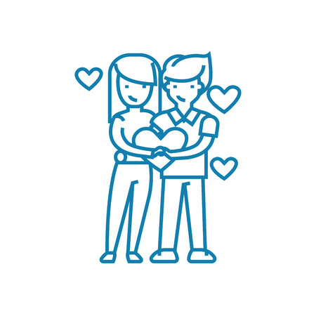 Couple of lovers line icon, vector illustration. Couple of lovers linear concept sign.