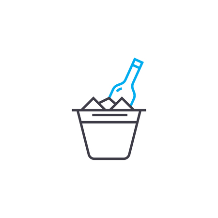 Cup with ice line icon, vector illustration. Cup with ice linear concept sign.