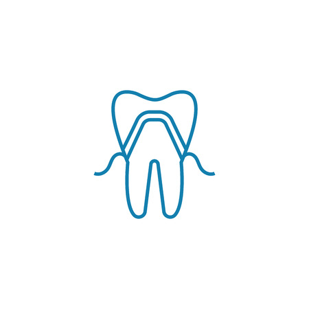 Dental implant line icon, vector illustration. Dental implant linear concept sign.