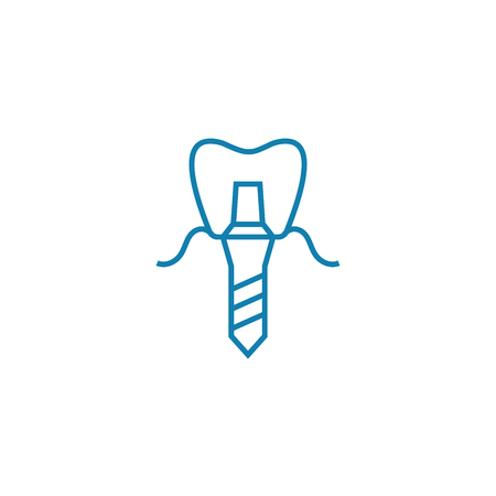 Dental prosthesis line icon, vector illustration. Dental prosthesis linear concept sign.