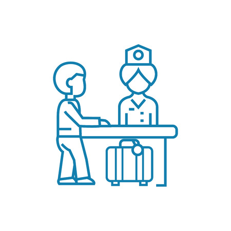 Customs control line icon, vector illustration. Customs control linear concept sign. 向量圖像