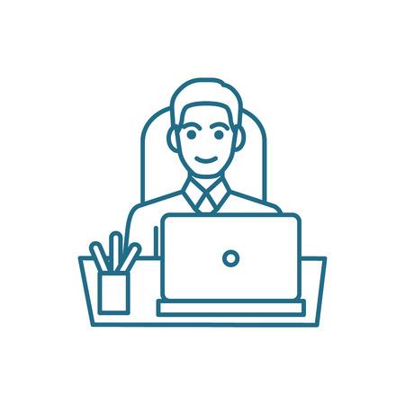Desire to work line icon, vector illustration. Desire to work linear concept sign. Stock Vector - 101937788