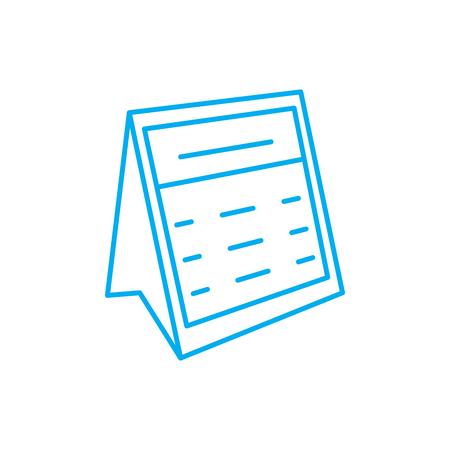Desk calendar line icon, vector illustration. Desk calendar linear concept sign.