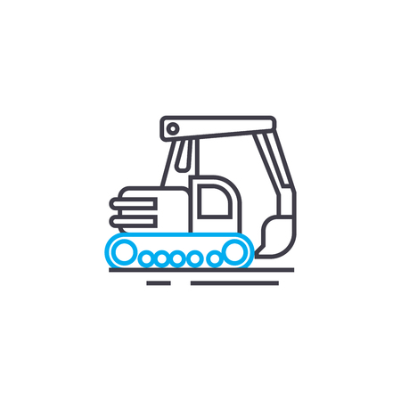 Digging machinery line icon, vector illustration. Digging machinery linear concept sign.  イラスト・ベクター素材