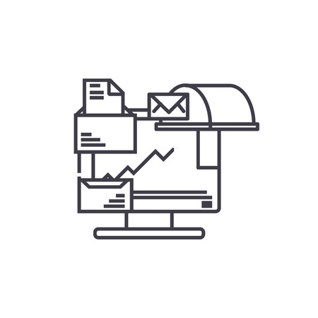 Document management line icon, vector illustration. Document management linear concept sign.
