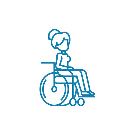 Disabled wheelchair user line icon, vector illustration. Disabled wheelchair user linear concept sign. Banque d'images - 101964745