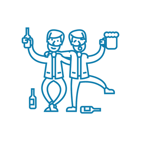 Drinking with friends line icon, vector illustration. Drinking with friends linear concept sign.