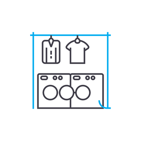 Drying of linen line icon, vector illustration. Drying of linen linear concept sign.