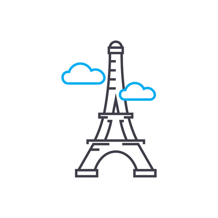 Eiffel tower line icon, vector illustration. Eiffel tower linear concept sign. Archivio Fotografico - 101964748
