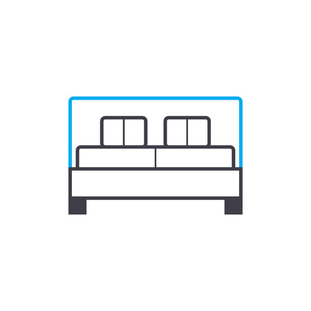 Double bed line icon, vector illustration. Double bed linear concept sign.
