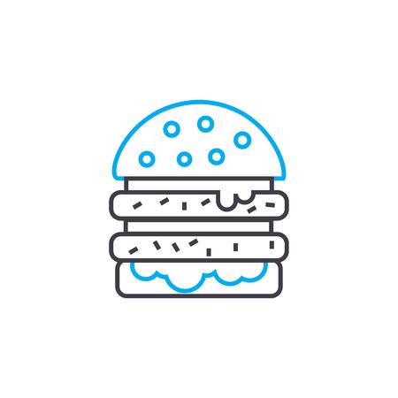 Double burger line icon, vector illustration. Double burger linear concept sign. Çizim