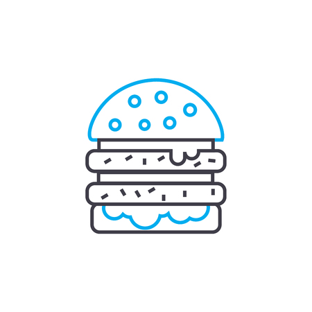 Double burger line icon, vector illustration. Double burger linear concept sign. Illustration